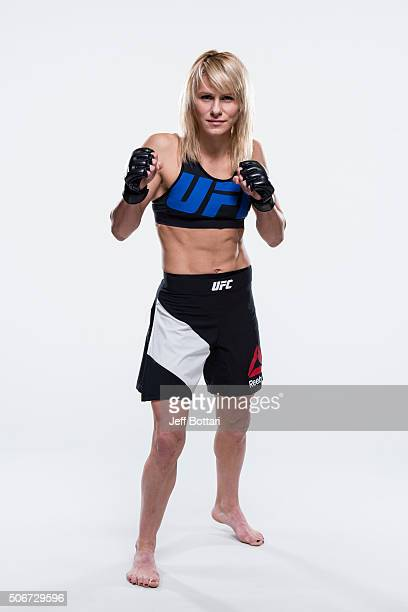 Justine Kish poses for a portrait during a UFC photo session inside the MGM Grand Conference Center on December 30 2015 in Las Vegas Nevada