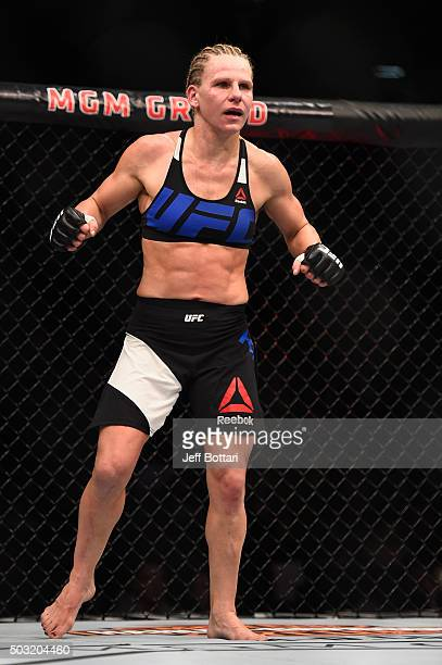 Justine Kish prepares for round three of her women's strawweight bout during the UFC 195 event inside MGM Grand Garden Arena on January 2 2016 in Las...