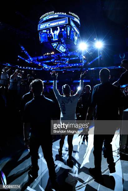 Justine Kish prepares to enter the Octagon prior to her women's strawweight bout against Felice Herrig during the UFC Fight Night event at the...