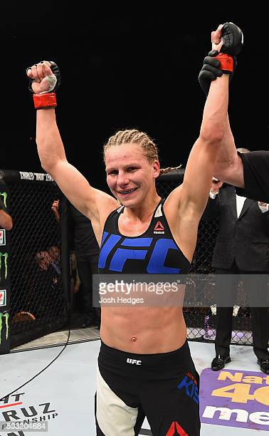 Justine Kish reacts to her victory over Nina Ansaroff in their women's strawweight bout during the UFC 195 event inside MGM Grand Garden Arena on...