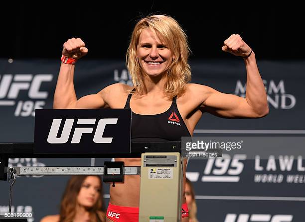 Justine Kish weighs in during the UFC 195 weighin at the MGM Grand Conference Center on January 1 2016 in Las Vegas Nevada
