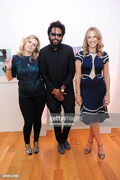 Justine Koons Maxwell Osborne and Alison Brokaw attend Gus Al Party Launching #yes Collection including Jeff Koons Limited Edition Collaboration on...