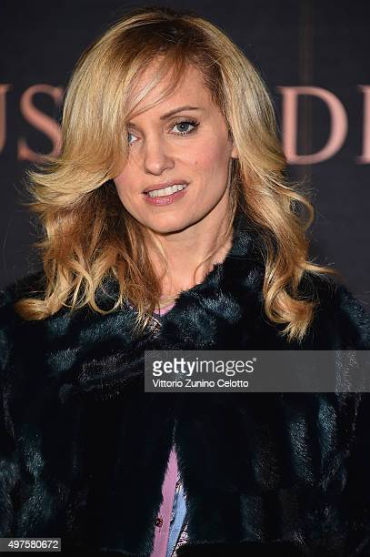 Justine Mattera attends a photocall for 'Trussardi Jeans Celebrates The New IT Bag' party on November 17 2015 in Milan Italy