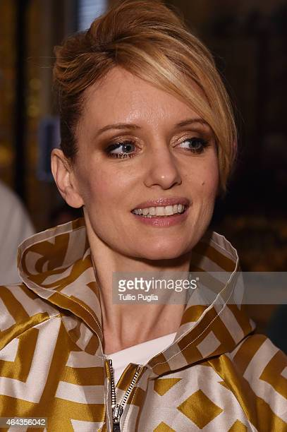 Justine Mattera attends the Chicca Lualdi show during the Milan Fashion Week Autumn/Winter 2015 on February 25 2015 in Milan Italy