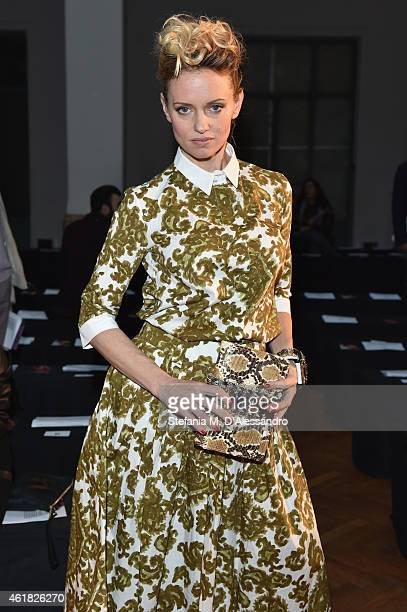 Justine Mattera attends the Julian Zigerli show during the Milan Menswear Fashion Week Fall Winter 2015/2016 on January 20 2015 in Milan Italy