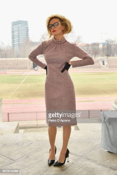 Justine Mattera attends the Luisa Beccaria show during Milan Fashion Week Fall/Winter 2018/19 on February 22 2018 in Milan Italy