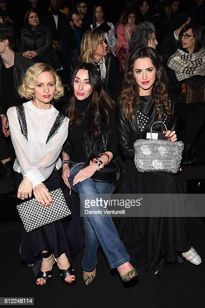 Justine Mattera guest and Gresy Daniilidis attend the Anteprima show during Milan Fashion Week Fall/Winter 2016/17 on February 25 2016 in Milan Italy