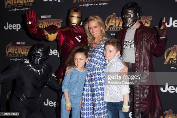 Justine Mattera Vincent Michael Cassata and Vivienne Rose Cassata attend 'Avengers Infinity War' photocall on April 24 2018 in Milan Italy