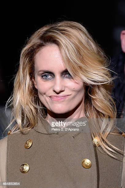 Justine Mattera walks the runway at the Diliborio show during the Milan Fashion Week Autumn/Winter 2015 on February 28 2015 in Milan Italy