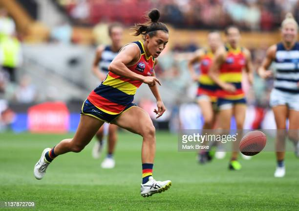 Justine Mules of the Adelaide Crows during the AFLW Preliminary Final match between the Adelaide Crows and thew Geelong Cats at Adelaide Oval on...