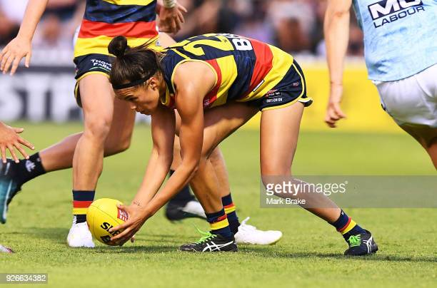 Justine Mules of the Adelaide Crows during the round five AFLW match between the Adelaide Crows and the Carlton Blues at Norwood Oval on March 3,...