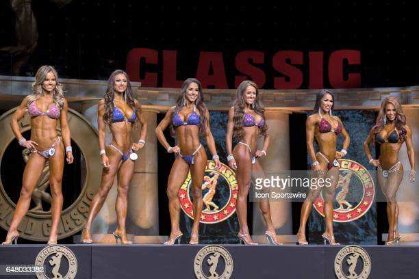 Justine Munro Janet Layug Angelica Teixeira Courtney King Jennifer Ronzitti and India Paulino compete in Bikini International as part of the Arnold...