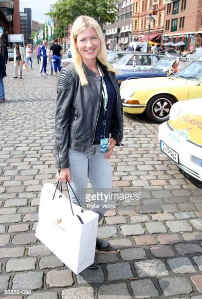 Justine Neubert girlfriend of Ralf Moeller during the first day of the HamburgBerlin Klassik Rallye on August 24 2017 in Hamburg Germany
