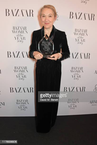 Justine Picardie, winner of the Woman of the Year Award, attends the Harper's Bazaar Women of the Year Awards 2019, in partnership with Armani...