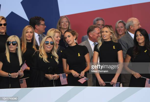 Justine Reed Amy Mickelson Jena Sims Paulina Gretzky and Allison Stokke attend the opening ceremony for the 2018 Ryder Cup at Le Golf National on...