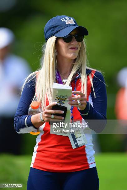 Justine Reed looks on during a practice round prior to the 2018 PGA Championship at Bellerive Country Club on August 6 2018 in St Louis Missouri