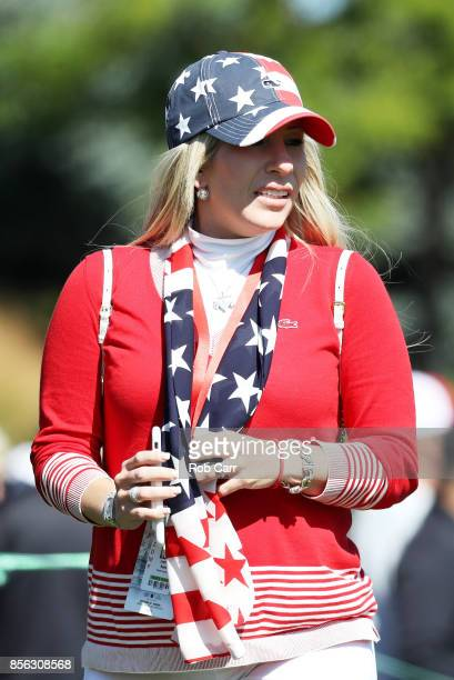 Justine Reed wife of Patrick Reed of the US Team looks on during Sunday singles matches of the Presidents Cup at Liberty National Golf Club on...