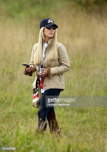 Justine Reed wife of Patrick Reed of the USA watches on at the Volvo World Matchplay Championship at The London Club on October 16 2014 in Ash England