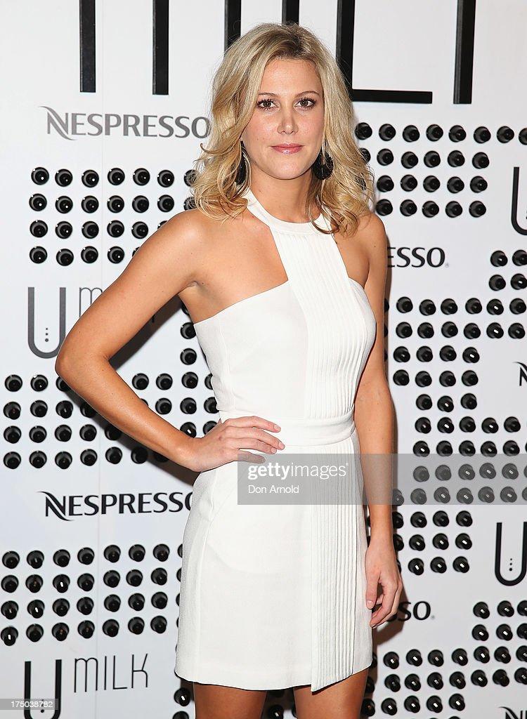 Justine Schofield arrives at the Nespresso Umilk machine launch on July 30, 2013 in Sydney, Australia.