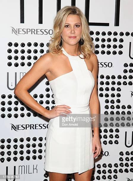 Justine Schofield arrives at the Nespresso Umilk machine launch on July 30 2013 in Sydney Australia