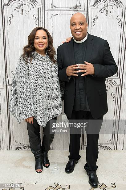 Justine Simmons and Joseph 'Rev Run' Simmons attend AOL BUILD presents Rev Run and Justine Simmons at AOL Studios In New York on October 13 2015 in...