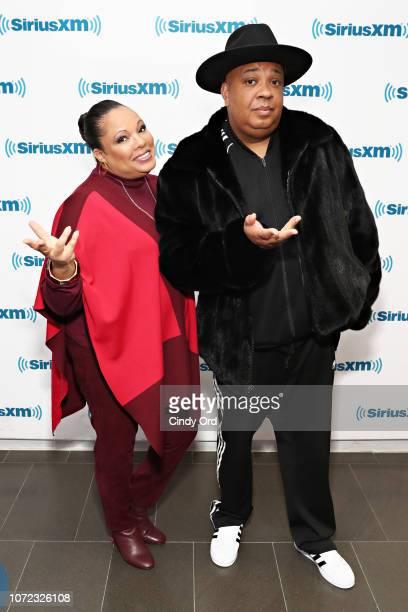 Justine Simmons and Joseph 'Rev Run' Simmons visit the SiriusXM Studios on December 12 2018 in New York City