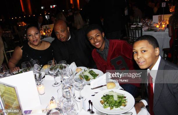 Justine Simmons Joseph Rev Run Simmons Daniel Diggy Simmons and Russell Russy Simmons attend the Lower Eastside Service Center's 51st Year of...