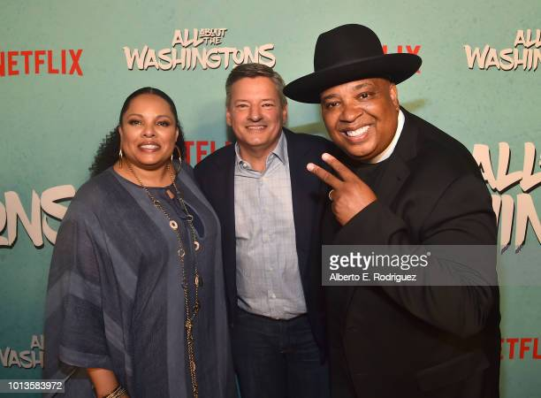 Justine Simmons Ted Sarandos and Rev Run attend a screening of Netflix's All About The Washingtons at Madera Kitchen Bar on August 8 2018 in...