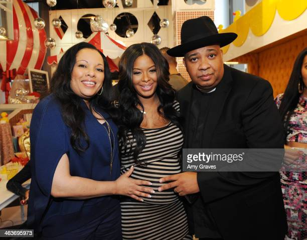 Justine Simmons Vanessa Simmons and Rev Run attend Vanessa Simmons Baby Shower at Sugar Factory Hollywood on January 18 2014 in Los Angeles California