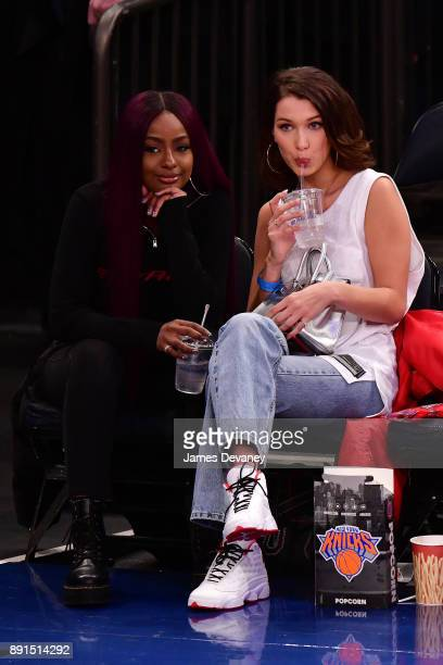 Justine Skye and Bella Hadid attend the Los Angeles Lakers Vs New York Knicks game at Madison Square Garden on December 12 2017 in New York City