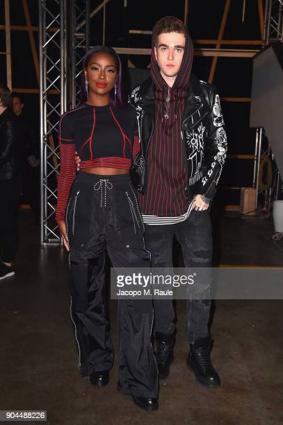 Justine Skye and GabrielKane DayLewis attend the Diesel Black Gold show during Milan Men's Fashion Week Fall/Winter 2018/19 on January 13 2018 in...