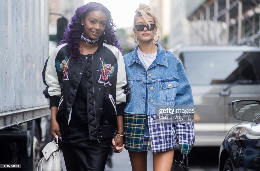 4b06bf979b2 Justine Skye and Hailey Baldwin wearing denim jacket seen in the ...