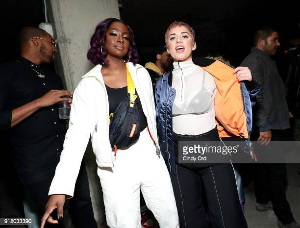 Justine Skye and Julz Goddard attend the Heron Preston Tequila Avion Dance Party in Celebration Of Heron Preston 'Public Figure' at Public Arts on...