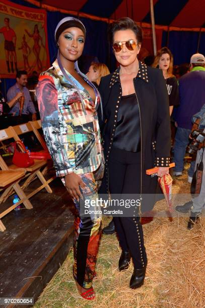 Justine Skye and Kris Jenner attend the Moschino Spring/Summer 19 Menswear and Women's Resort Collection at Los Angeles Equestrian Center on June 8...