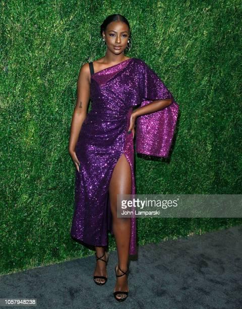 Justine Skye attends FDA / Vogue Fashion Fund 15th Anniversary event at Brooklyn Navy Yard on November 5 2018 in Brooklyn New York