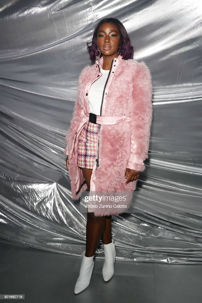 Justine Skye attends Moncler Genius during Milan Fashion Week on February 20, 2018 in Milan, Italy.