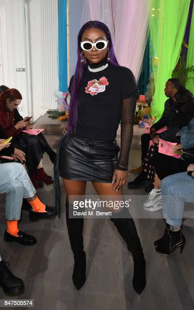 Justine Skye attends the Ashley Williams show during London Fashion Week September 2017 at The Swiss Church on September 15 2017 in London England