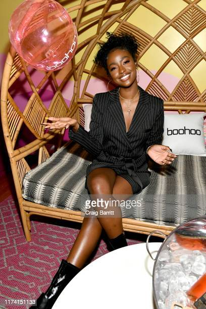 Justine Skye attends the boohoo NYFW celebration at the boohoo Mansion on September 11 2019 in New York City