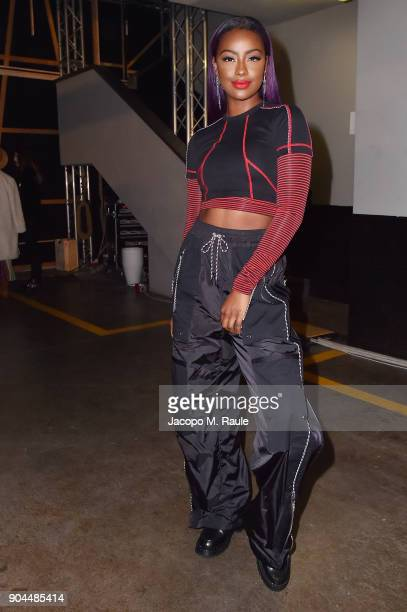 Justine Skye attends the Diesel Black Gold show during Milan Men's Fashion Week Fall/Winter 2018/19 on January 13 2018 in Milan Italy
