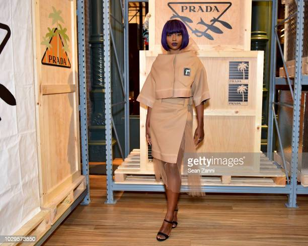 Justine Skye attends the Prada Linea Rossa event at Prada Broadway NY on Sept 8 2018