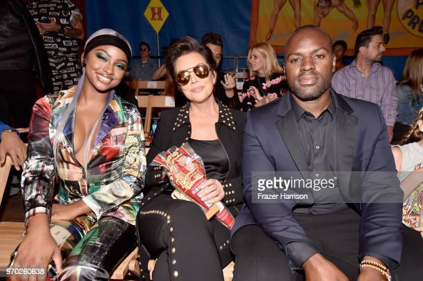 Justine Skye Kris Jenner and Corey Gamble attend the Moschino Spring/Summer 19 Menswear and Women's Resort Collection at Los Angeles Equestrian...