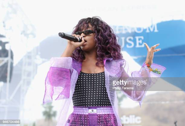 Justine Skye performs at the American Express Platinum House at Parker Palm Springs on April 15 2018 in Palm Springs California