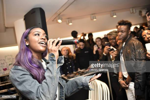 Justine Skye performs during the Boy Meets Girl x Care Bears Collection at Colette on February 14 2017 in Paris France