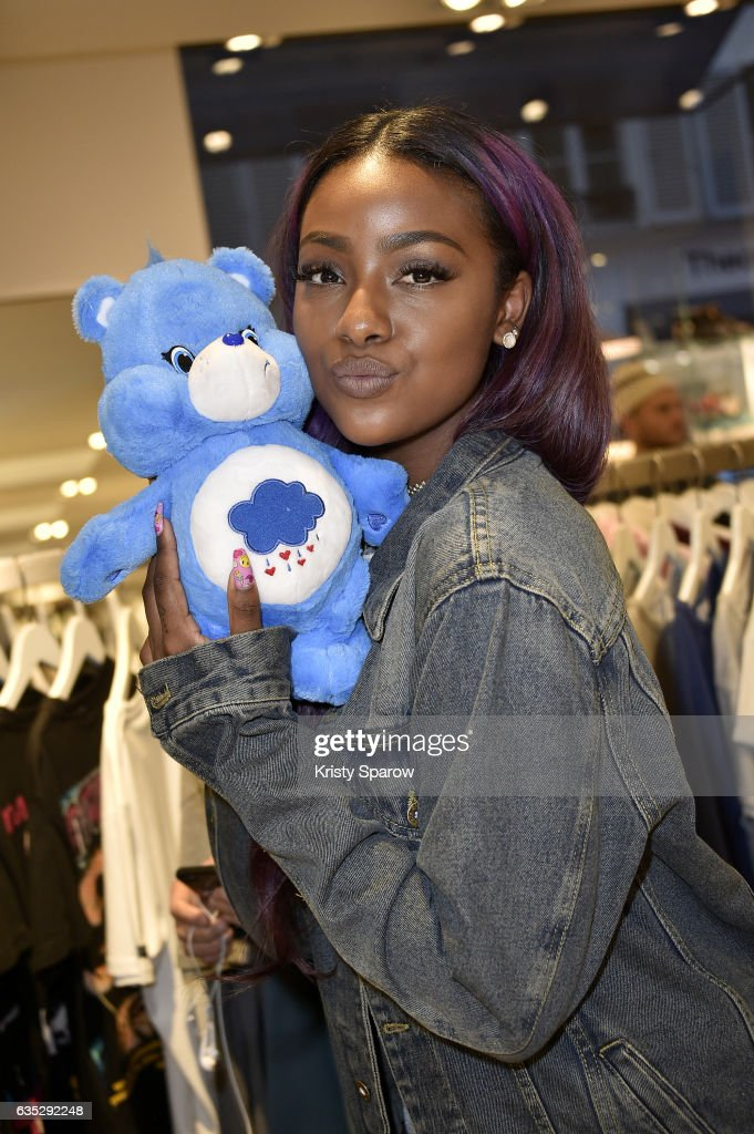 Justine Skye poses during the Boy Meets Girl x Care Bears Collection at Colette on February 14, 2017 in Paris, France.