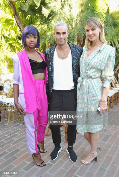 Justine Skye Scott Sternberg and Angela Lindvall attend CFDA/Vogue Fashion Fund Show and Tea at Chateau Marmont at Chateau Marmont on October 25 2017...