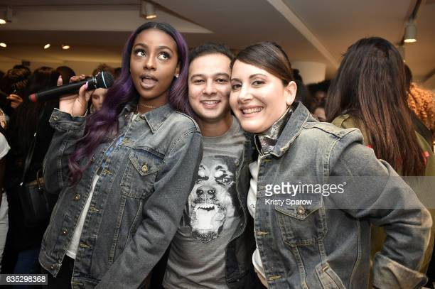 Justine Skye Shah Munir and Stacy Igel pose during the Boy Meets Girl x Care Bears Collection at Colette on February 14 2017 in Paris France
