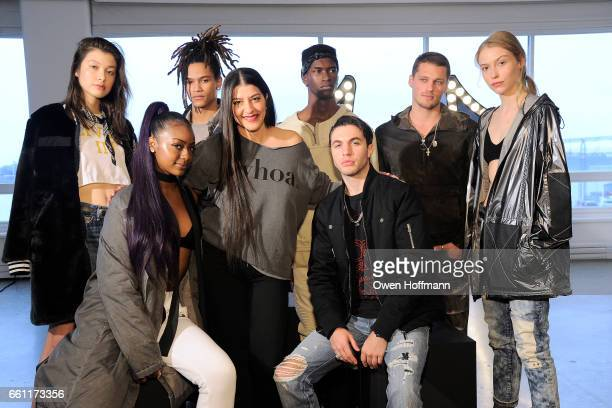 Justine Skye Tara Peyrache and Black Atlass pose with models at True Religion Fall 2017 Preview at Milk Studios on March 30 2017 in New York City