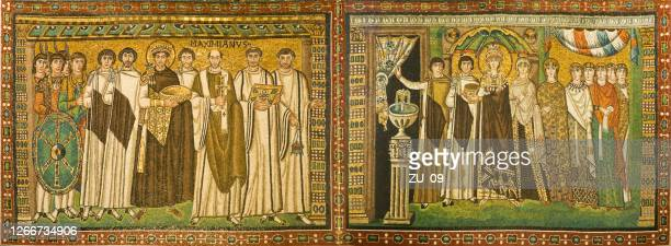 justinian and theodora mosaics, basilica of san vitale, ravenna, italy - byzantine stock pictures, royalty-free photos & images