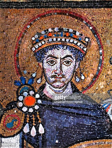 Justinian I Byzantine Emperor and Husband of Theodora Detail of Byzantine Mosaic Basilica of San Vitale Ravenna Italy