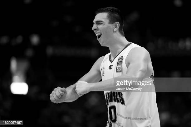 Justinian Jessup of the Hawks celebrates victory during the round five NBL match between the Sydney Kings and the Illawarra Hawks at Qudos Bank...